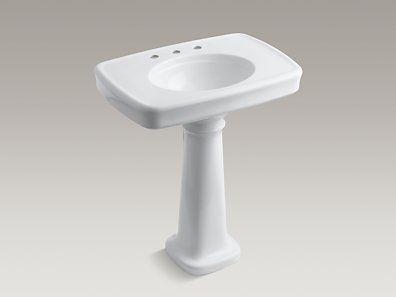 Kohler Bancroft Pedestal Bathroom Sink With Widespread Faucet Holes
