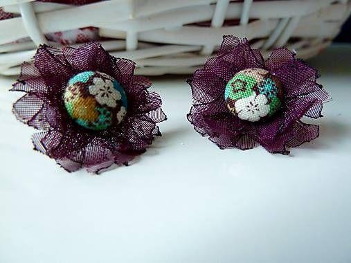 Martinuska / Tmavé fialové kvietky/organza earrings