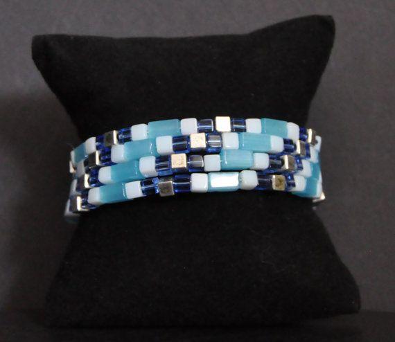 Blue Glass & Silver Cube Memory Bracelet by SheriSTRanger on Etsy, $35.00