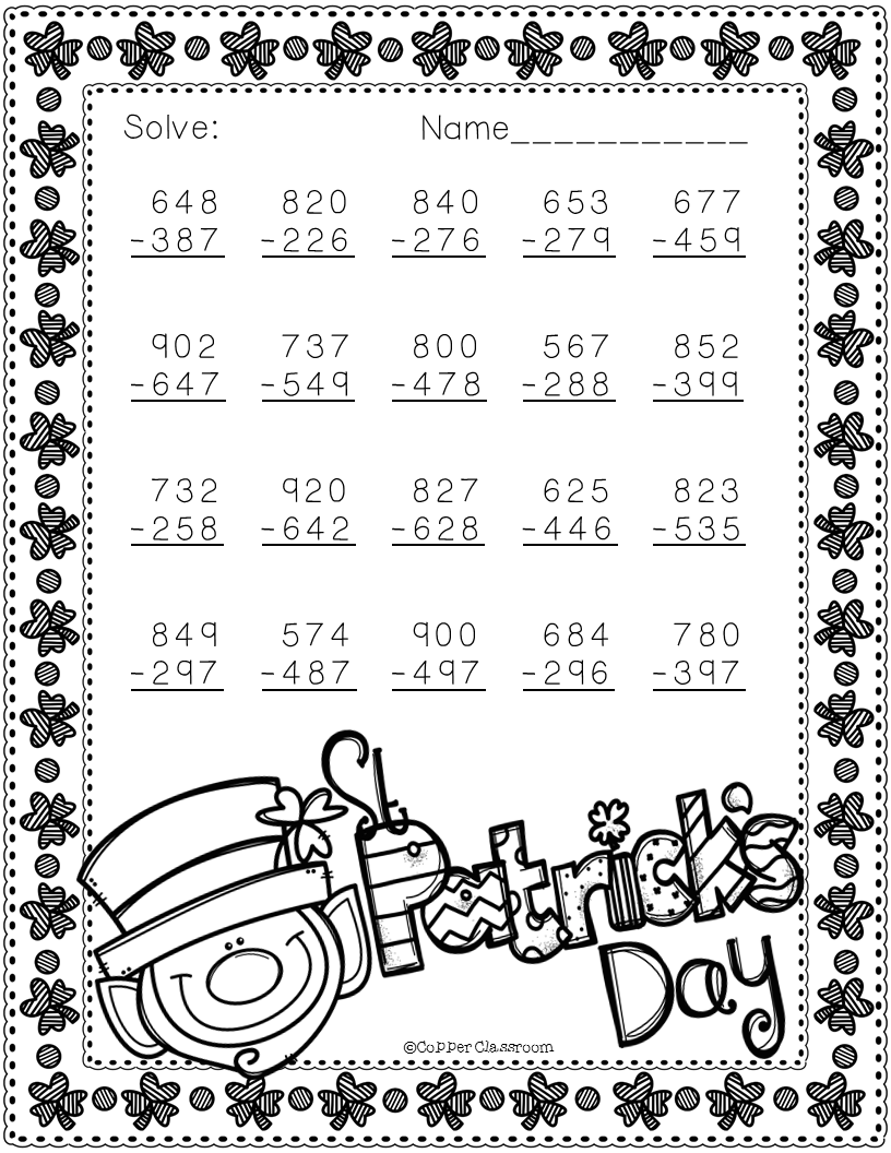 Free 3.NBT.2 St. Patrick's Day Themed 3 Digit Subtraction