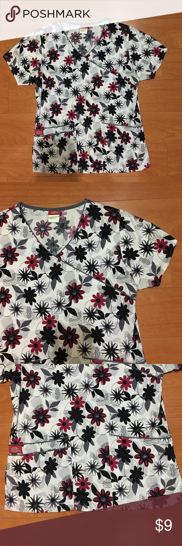 Dickies florals scrubs top Size xs, in very good condition. Other
