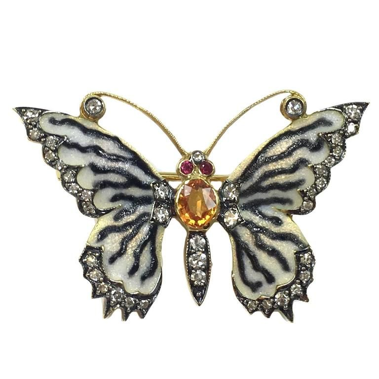 b4d58ae01f6 Gorgeous Enamel Mandarin Garnet Ruby Diamond Gold Butterfly Brooch Pin    From a unique collection of