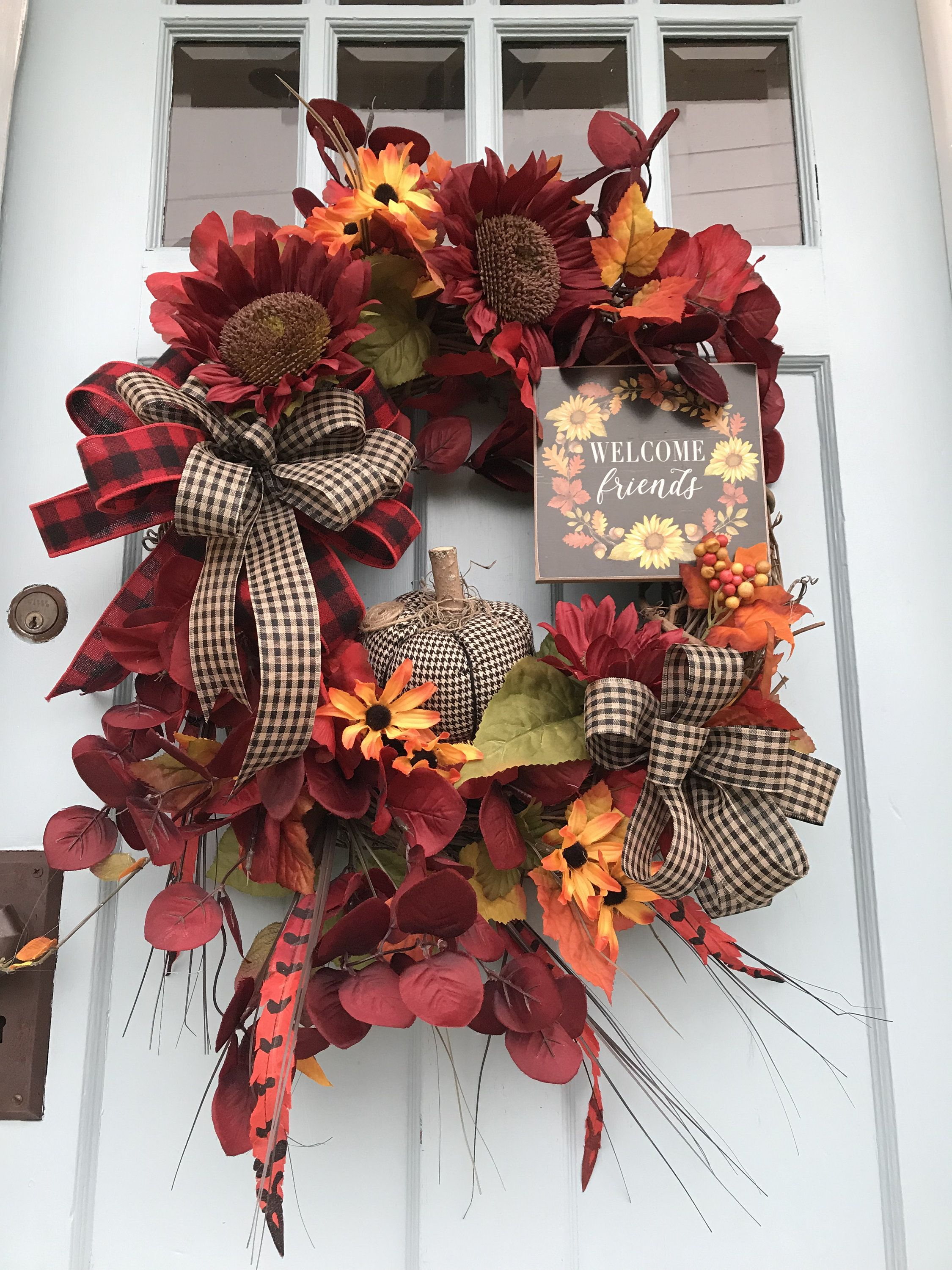 Red Sunflower Fall Wreath For Front Door Autumn Pumpkin Floral Grapevine Wreath For Door Friends Wreath For Front Door Pumpkin Wreath Fall Wreath Fall Thanksgiving Wreaths Wreaths For Front Door