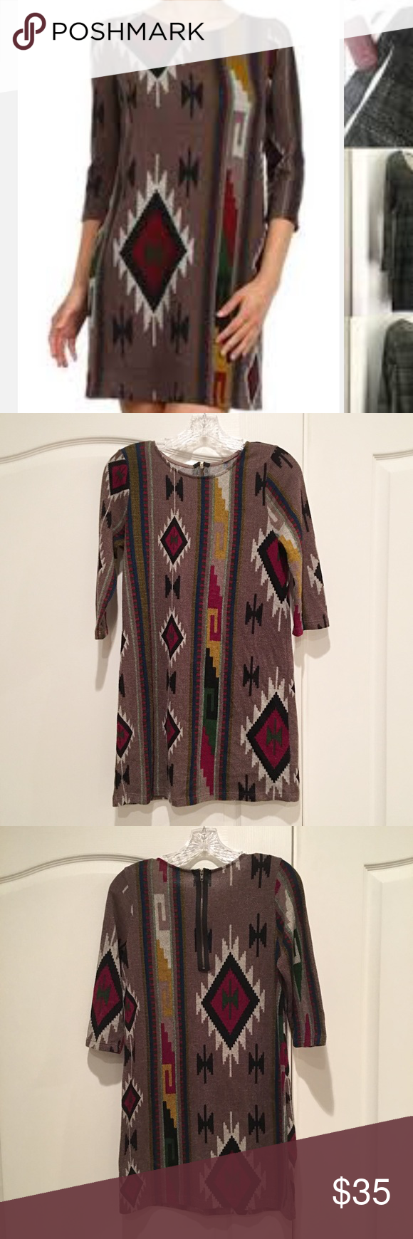 Everly Brown Aztec Sweater Dress