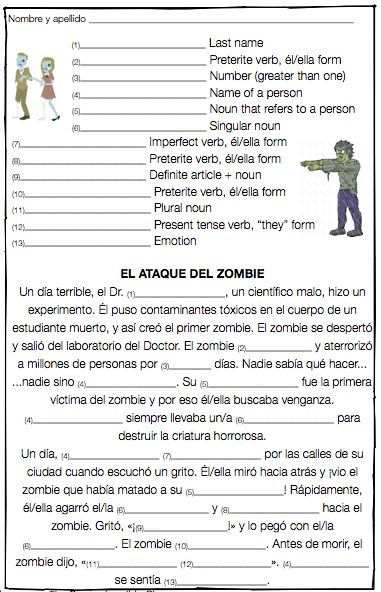Mad Libs Activities Spanish And Spanish Worksheets
