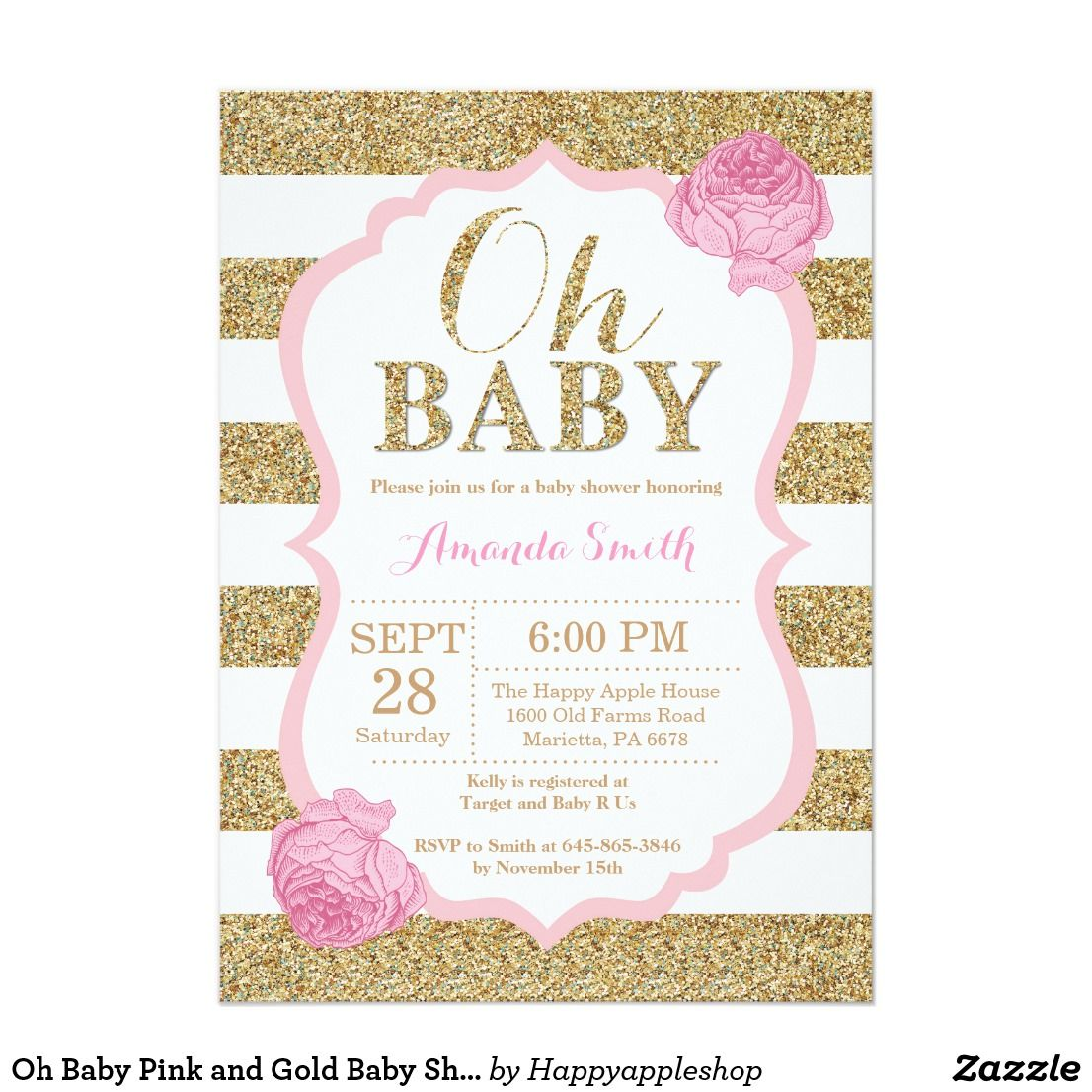 Oh Baby Pink and Gold Baby Shower Invitation | Custom Floral Faux Glitter Baby  Shower Invite from Zazzle |