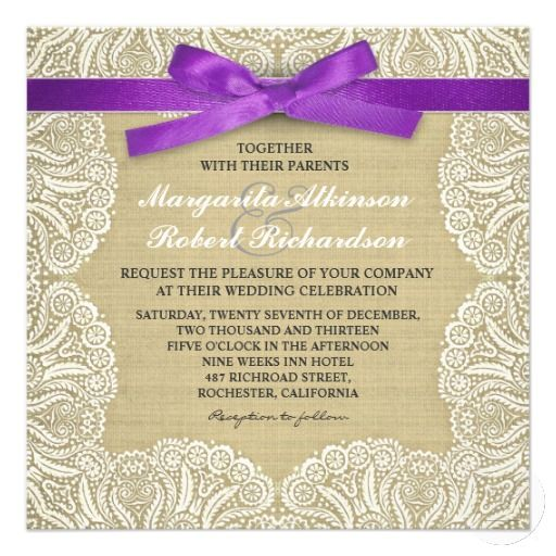White Lace And Burlap Wedding Invitations With Purple Ribbon For C