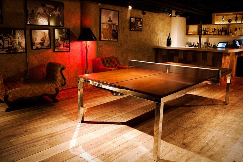 Chrome And Natural Wood Ping Pong Table  Keep Calmping Pong Endearing Dining Room Ping Pong Table Design Ideas