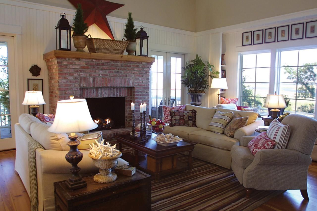 White Country Living Room With Red Brick Fireplace Country Living Room Red Brick Fireplaces Family Room Design