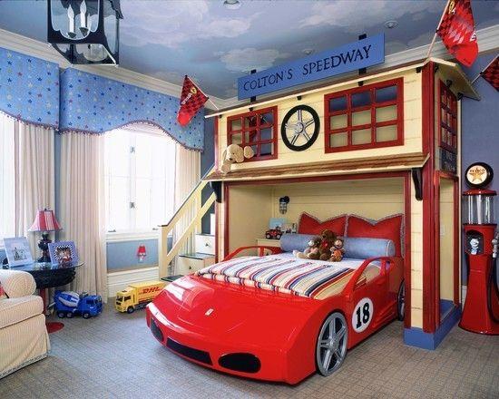 chambre, décoration, garçon, bolide, voiture, circuit, cars ...