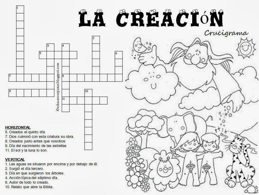 Crucigrama Actividades De La Biblia La Creacion Para Ninos