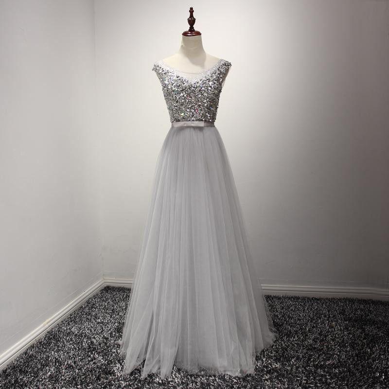 Elegant O-Neck A-Line Prom Dresses,Long Prom Dresses,Cheap Prom ...