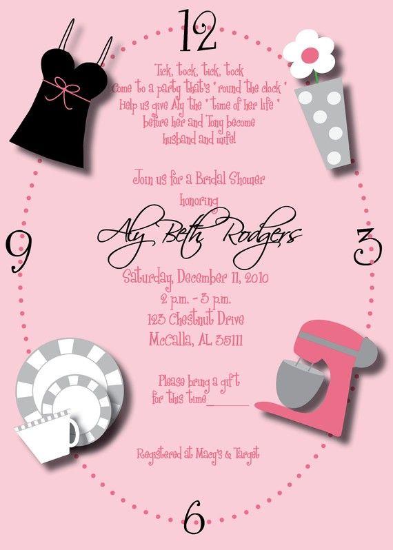 3a219ac09ab9 Around the Clock Wedding Shower Invitation- Custom Around the Clock ...