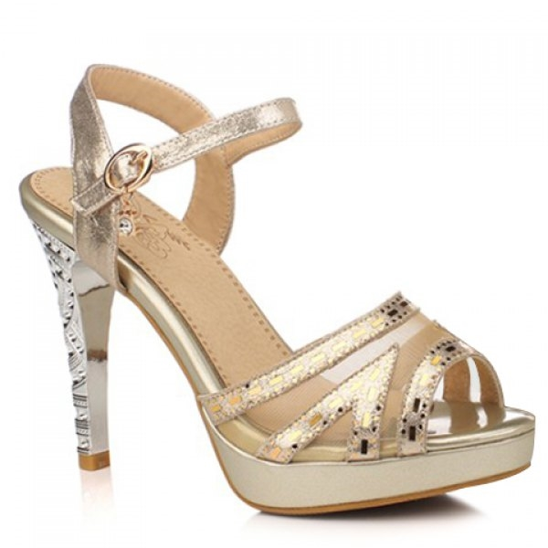 41.99$  Watch now - http://diloi.justgood.pw/go.php?t=179045612 - Trendy Gauze and Stiletto Heel Design Women's Sandals 41.99$