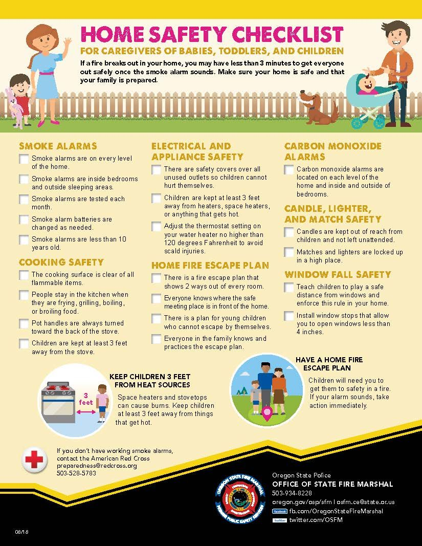 Home safety checklist for caregivers of babies, toddlers
