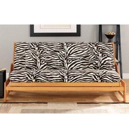 Com Sure Fit Zebra 1 Piece Futon Slipcover Black White