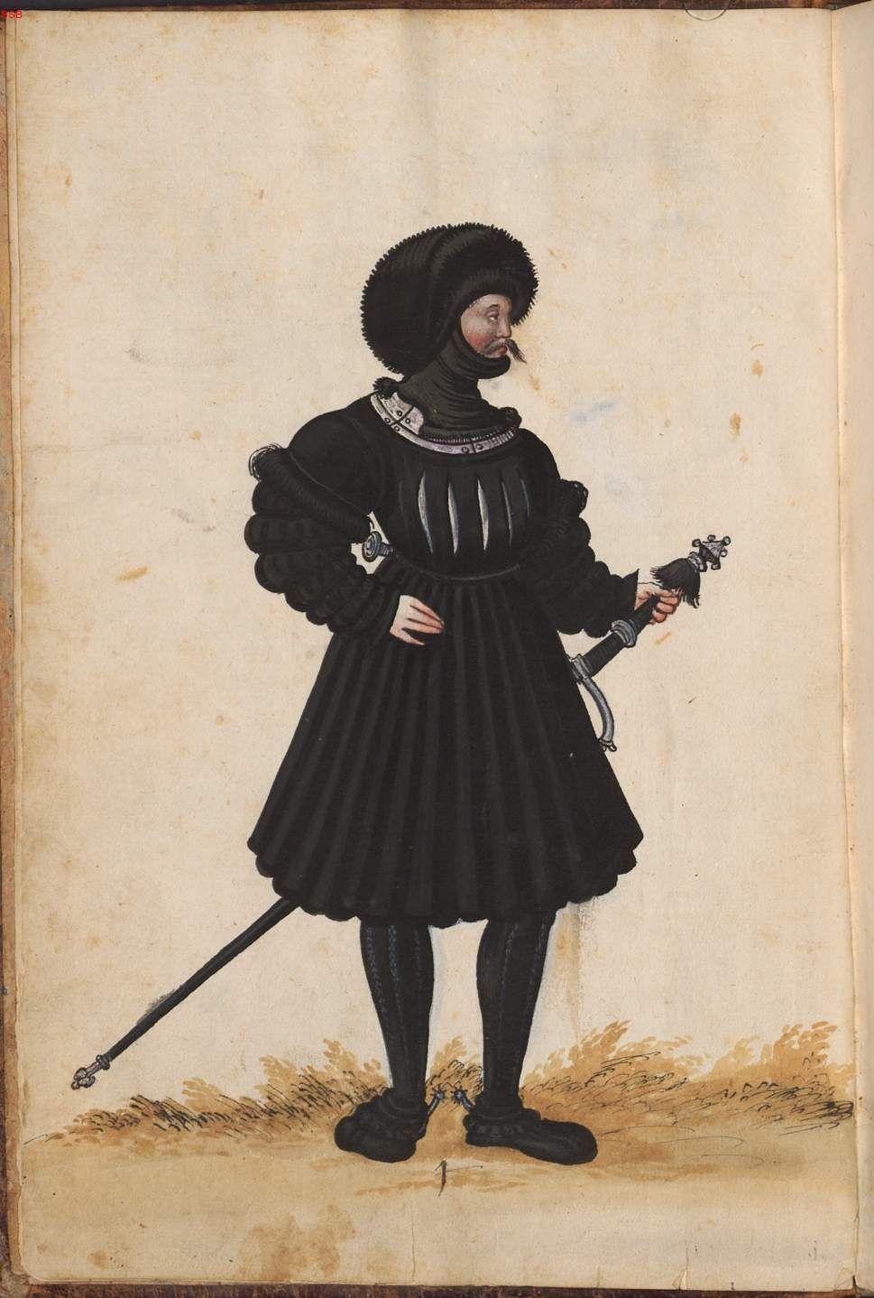 1508 Livery of Dukes of Saxony, from Hofkleiderbuch (Abbildung und Beschreibung der Hof-Livreen) des Herzogs Wilhelm IV. und Albrecht V. 1508-1551 - BSB Cgm 1951, München, 16. Jh. [BSB-Hss Cgm 1951]  PUrl- http://daten.digitale-sammlungen.de/bsb00016005/image_8