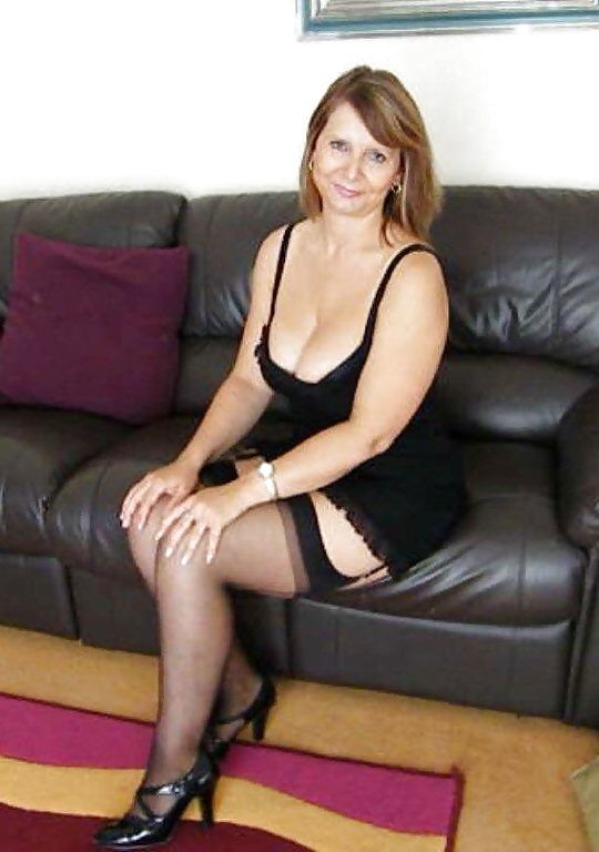 Blonde milf black chair
