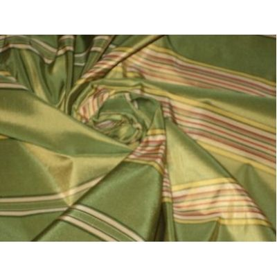 Silk taffeta in green stripes. Too much? $18.00/yd