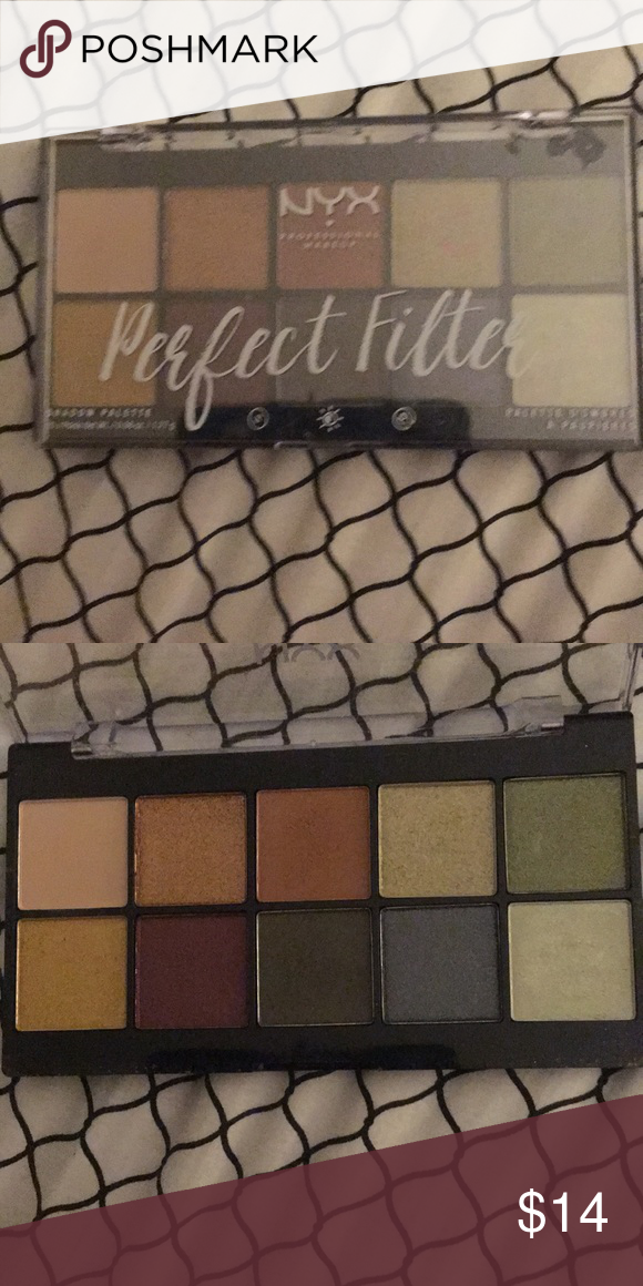 Nyx Perfect Filter Palette In Olive You Ten Pan Eyeshadow Palette Used Nyx Makeup Eyeshadow Nyx Makeup Makeup Eyeshadow Eyeshadow Palette