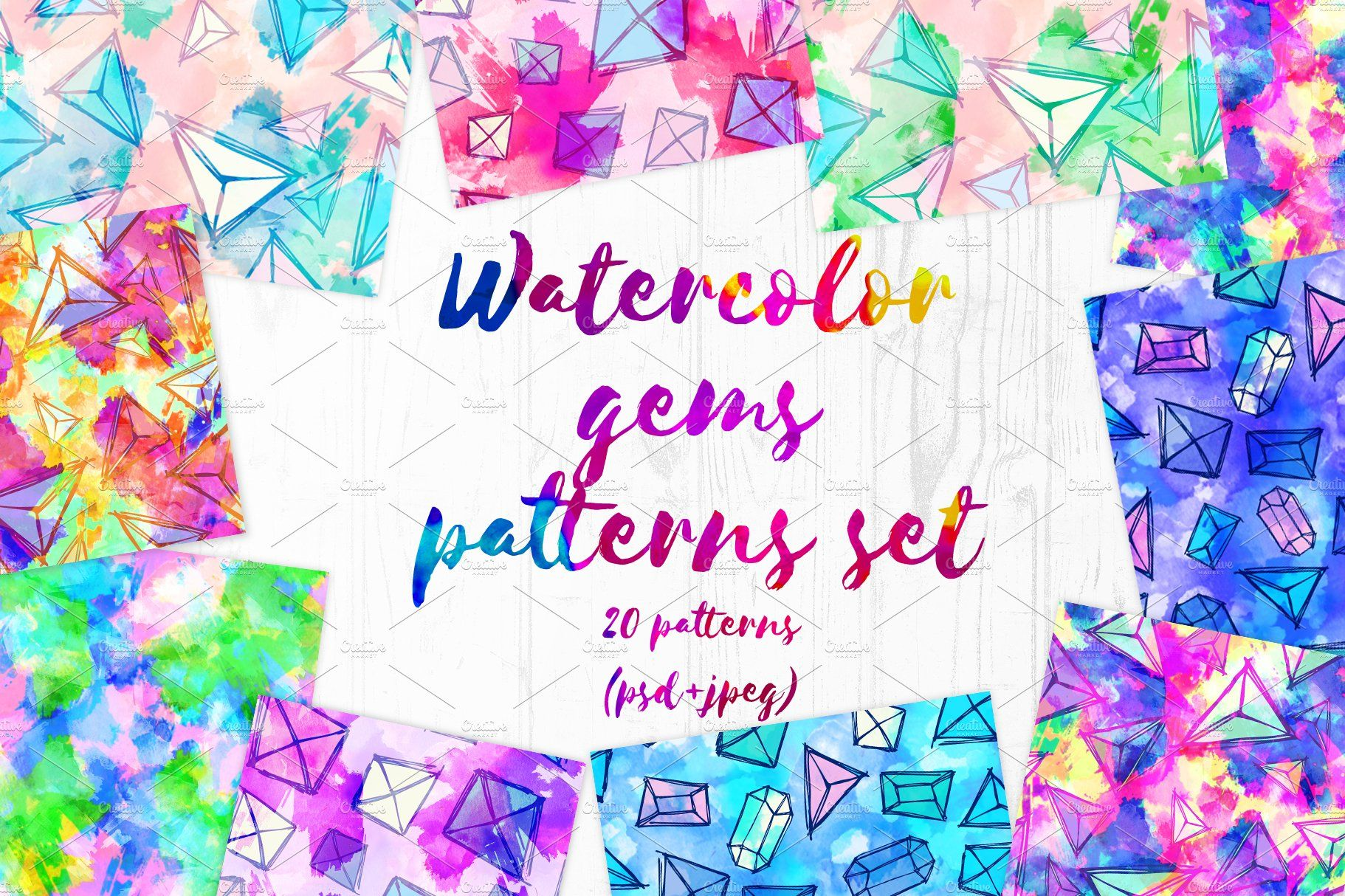 Watercolor Gems Patterns Set Sponsored Cm Height Dpi Rgb Ad