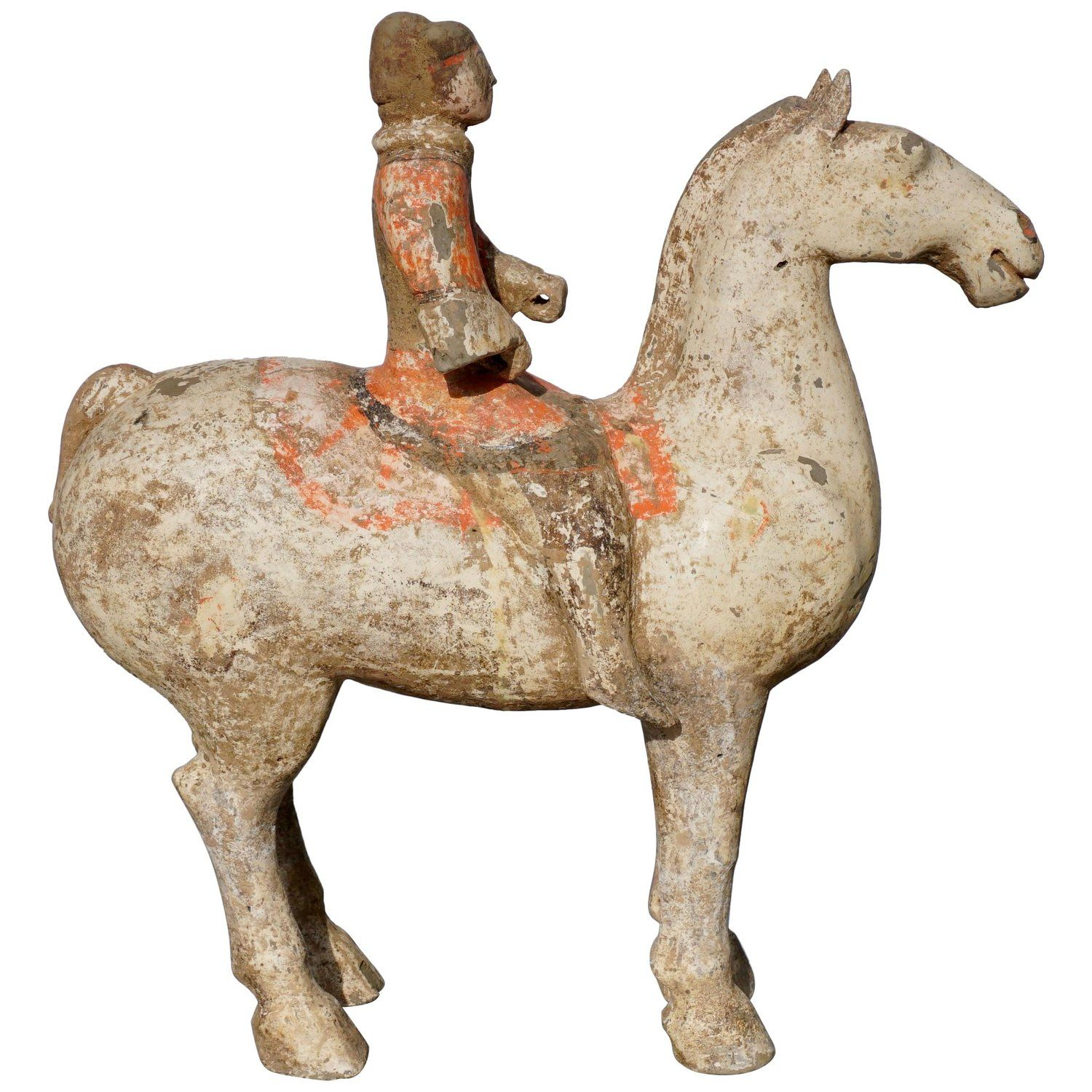 Han Dynasty Horse And Rider Terracotta 206 Bc 220 Ad
