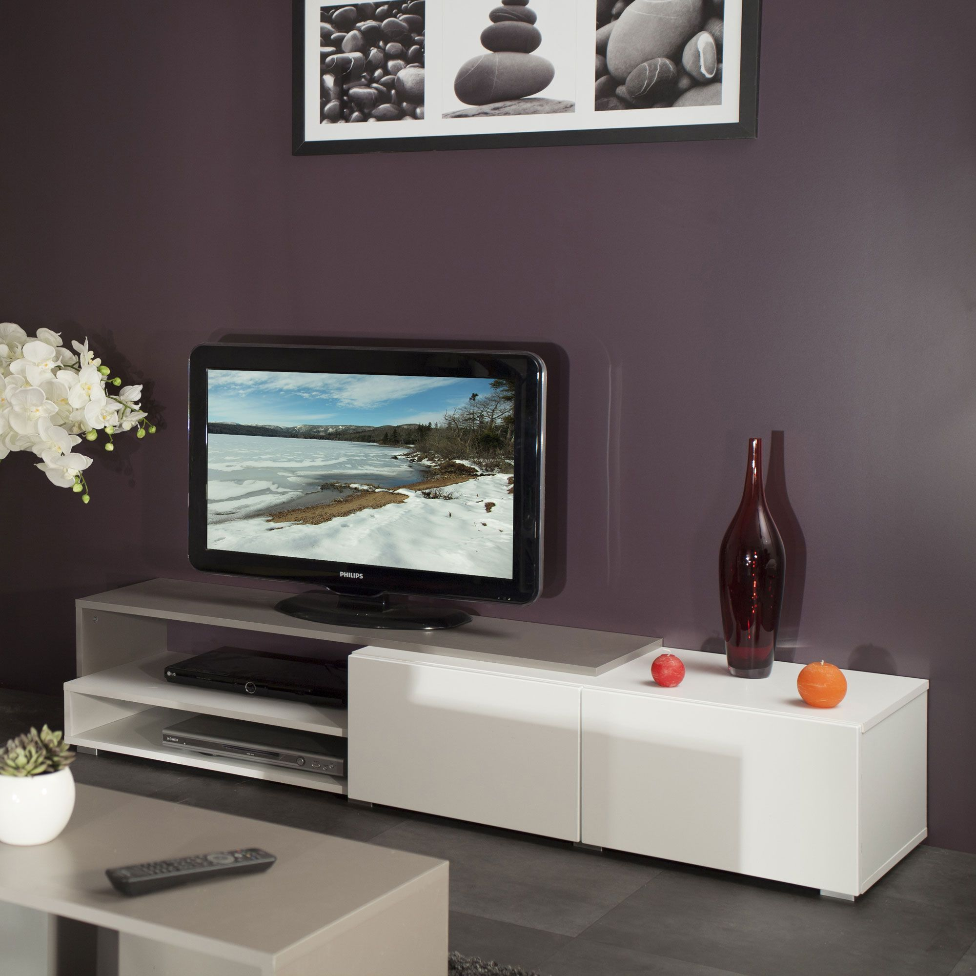 Meuble Tv 2 Tiroirs 2 Niches En Bois L168xp42xh32cm Glossy Port  # Table Tv En Verre Conforama