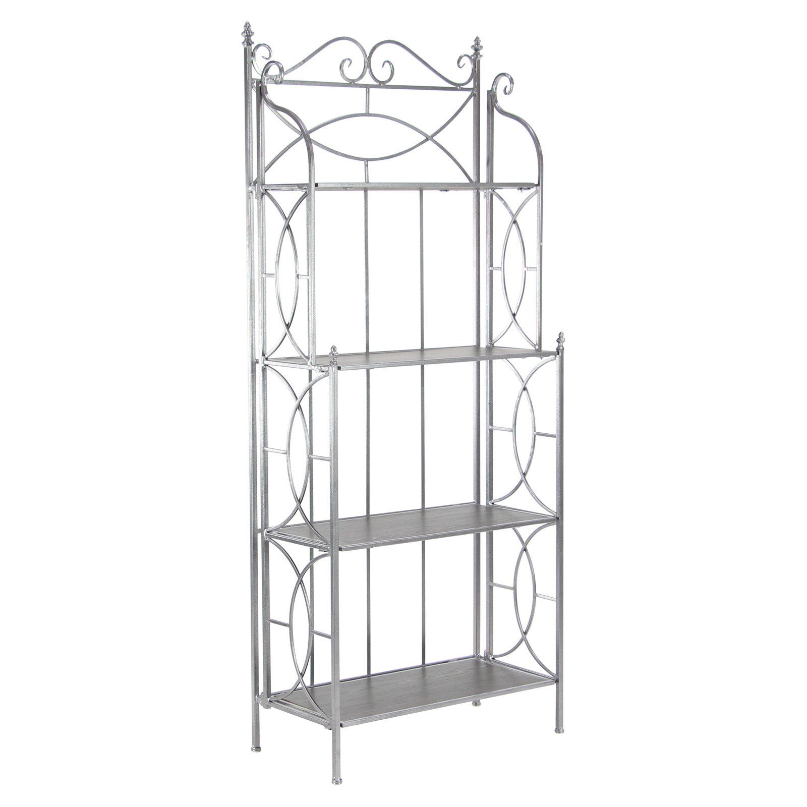 Decmode Metal Freestanding Bakers Rack Metal Shelving Units