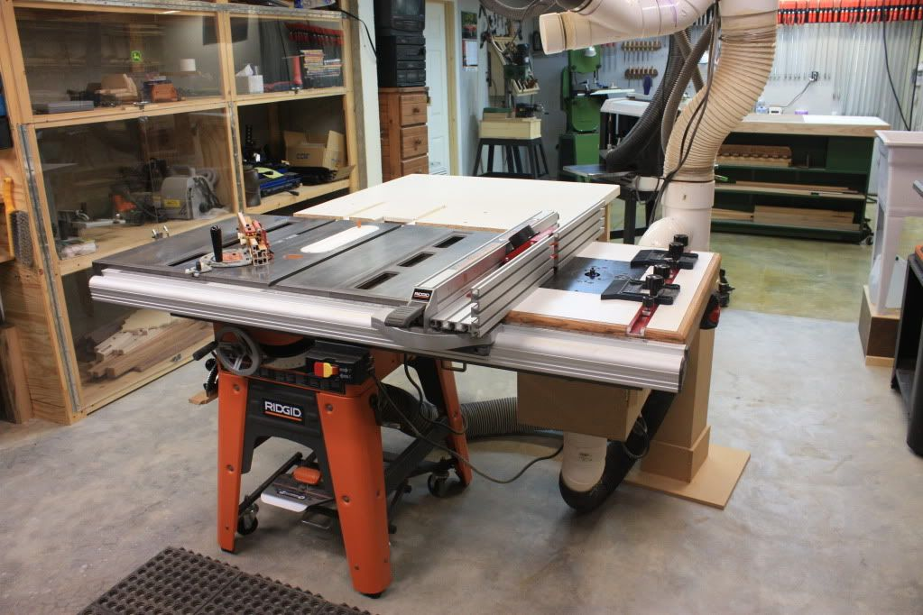 Table Saw, Router extension, Router Lift, outfeed table