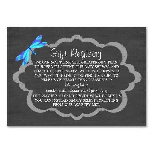 chalkboard  blue dragonfly baby gift registry cards  wording, Baby shower invitation