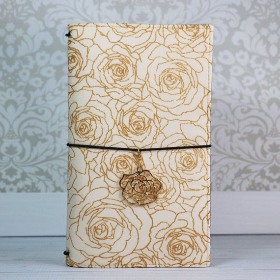 Fabric Traveler's Notebook in Pearlized Gold Roses