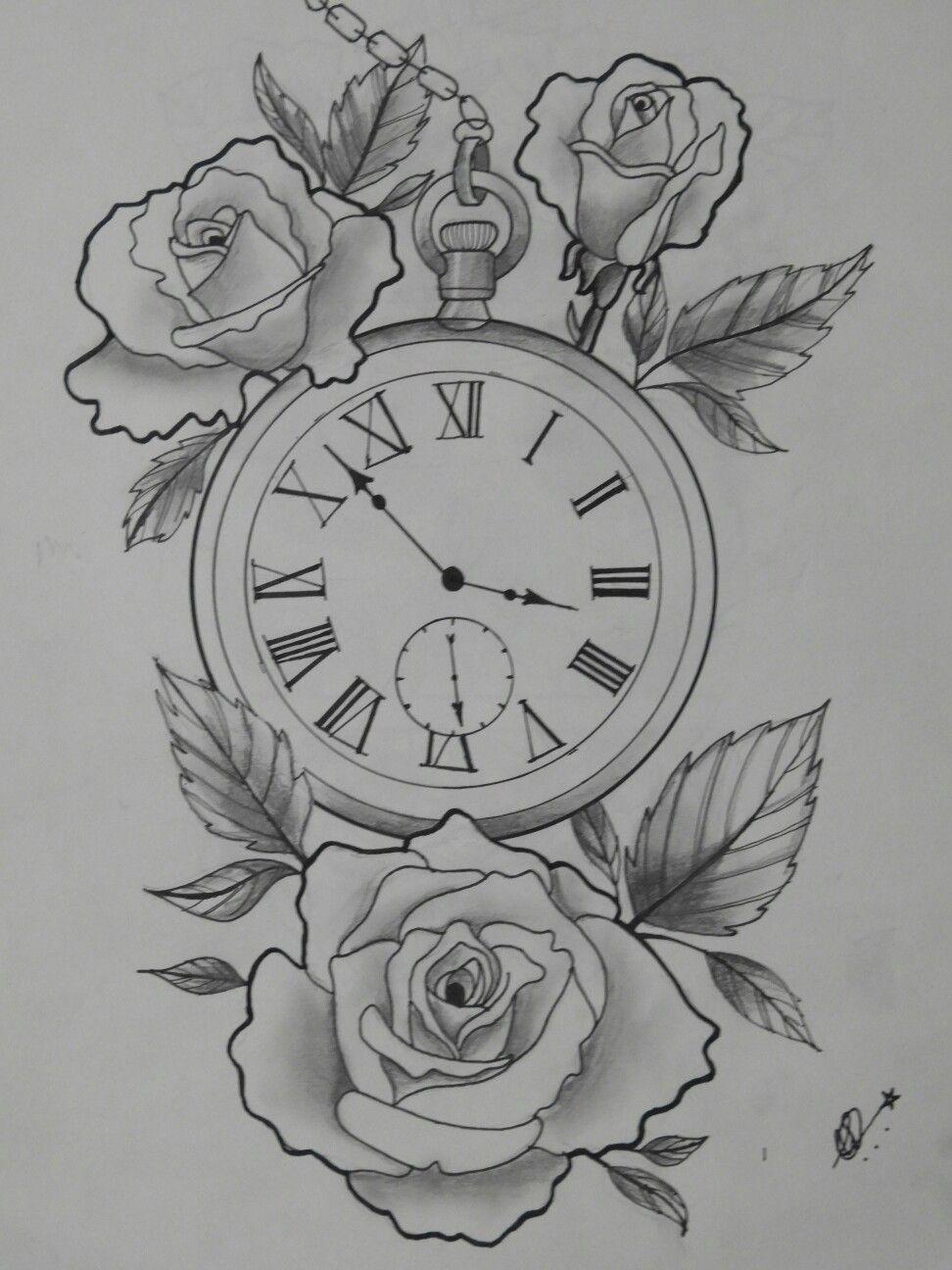 Rose Clock Tattoo Designs Drawing: Pin De Samiksha W Em Tattoo Ideas (com Imagens)