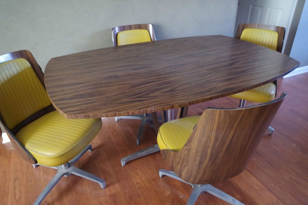 Vintage Chromcraft Oval Table Amp 4 Chairs Dining Set Danish