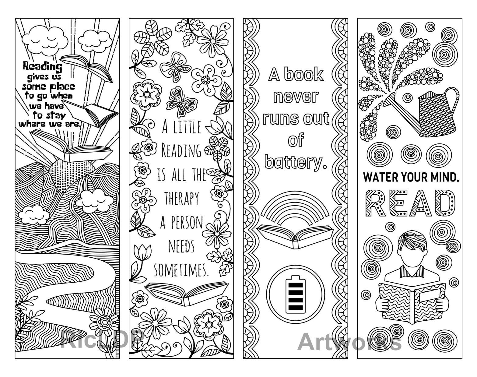 Set Of 8 Coloring Bookmarks With Quotes About Books And Reading