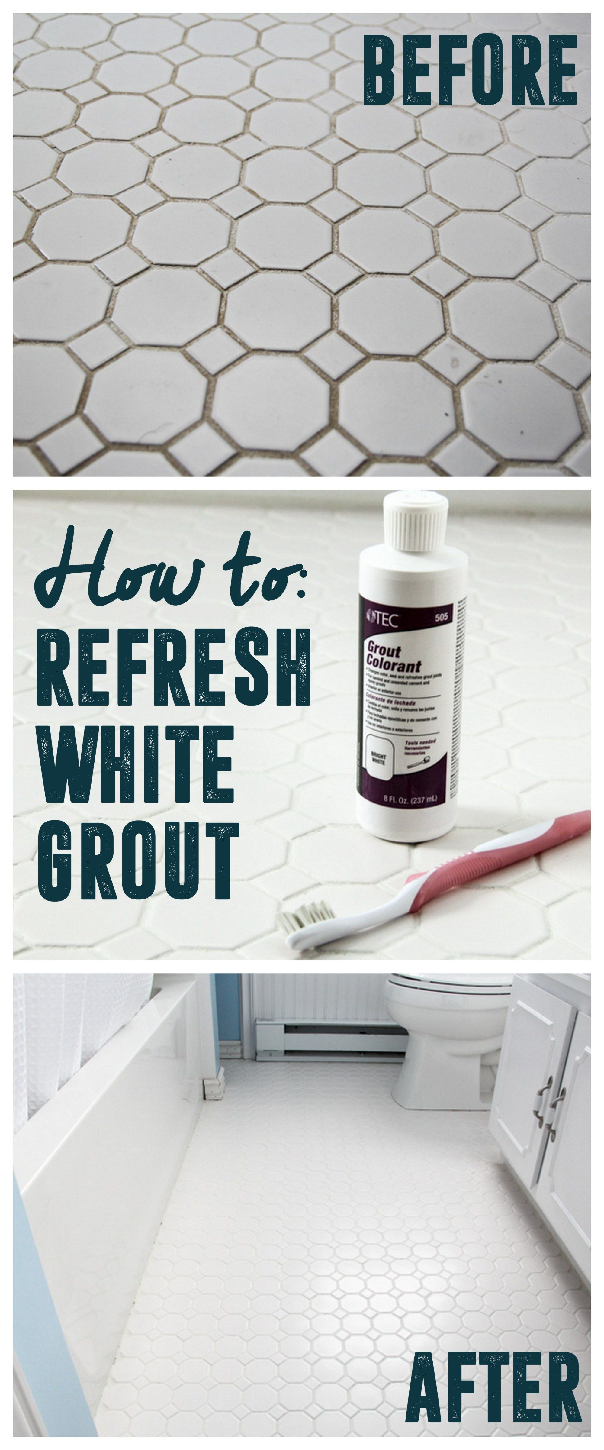 How to Refresh White Grout on Tile Floors, Clean White Grout ...