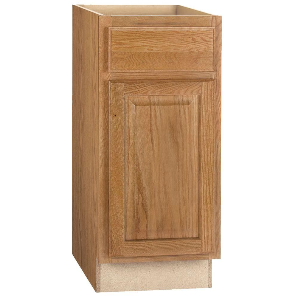 Hampton Bay Hampton Assembled 15x34 5x24 In Base Kitchen Cabinet With Ball Bearing Drawer Glides In Medium Oak Kb15 Mo The Home Depot Cabinet Base Cabinets How To Install Countertops