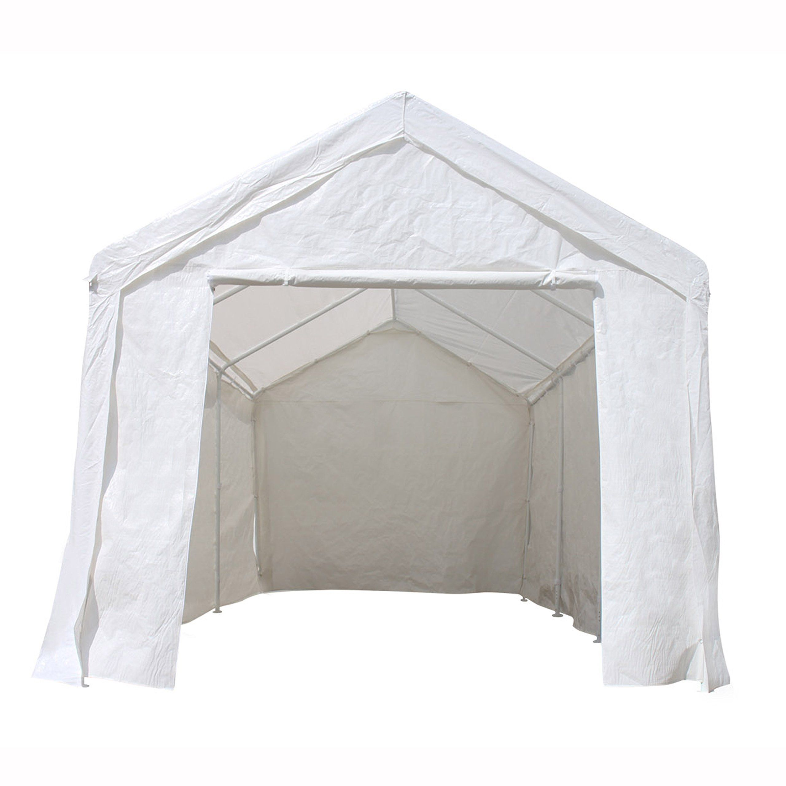 Aleko Cp1020wh Outdoor Event Carport Garage Canopy Tent Shelter Storage With Sidewalls 10 X 20 X 8 5 Feet White Carport Canopy Canopy Tent Garage Canopies