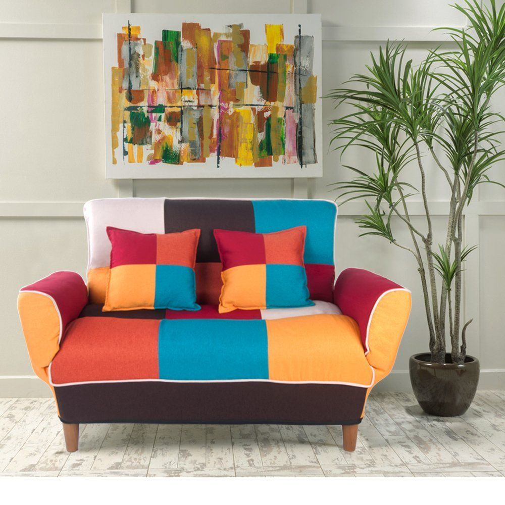 Life Carver Adjustable Colorful Patchwork Fabric Sofa Bed