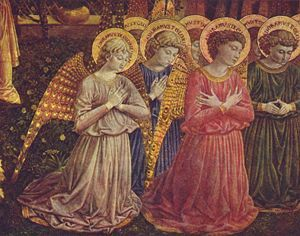 Detail of the choir of angels in the apse.