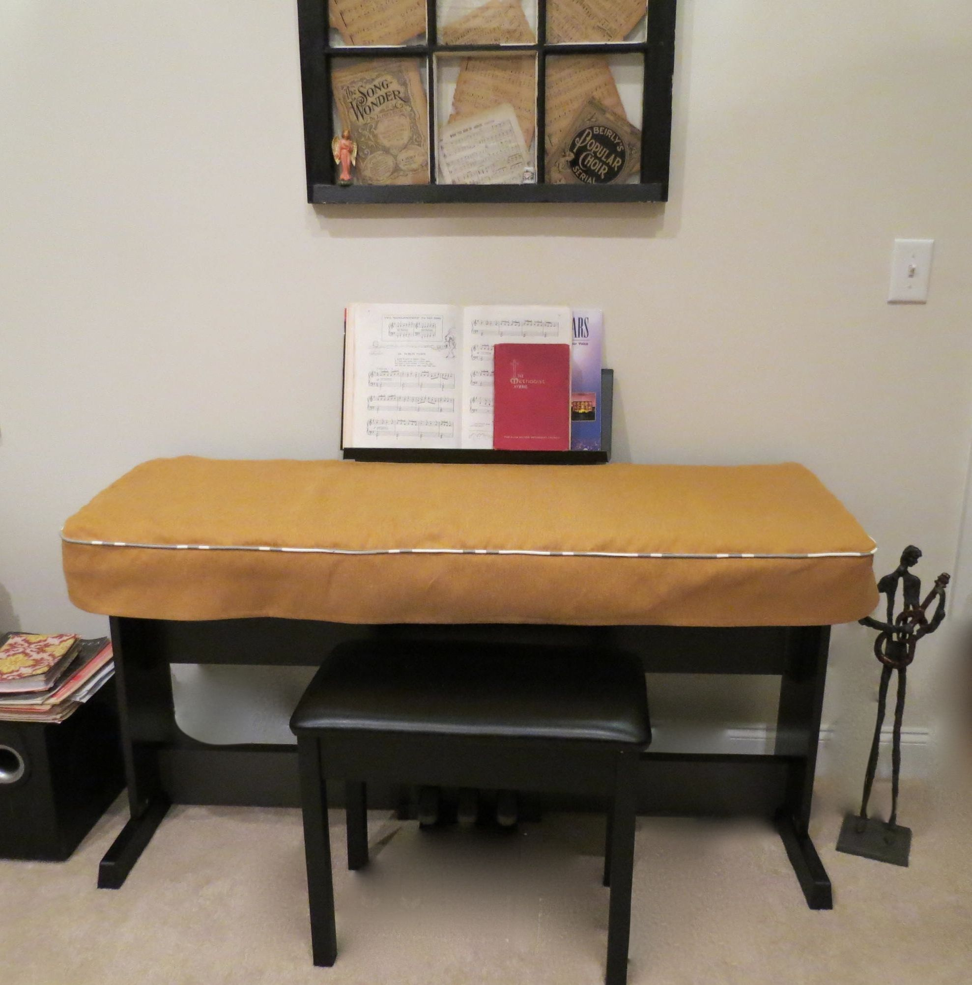 Electric Piano Keyboard Cover Made out of Textured Upholstery