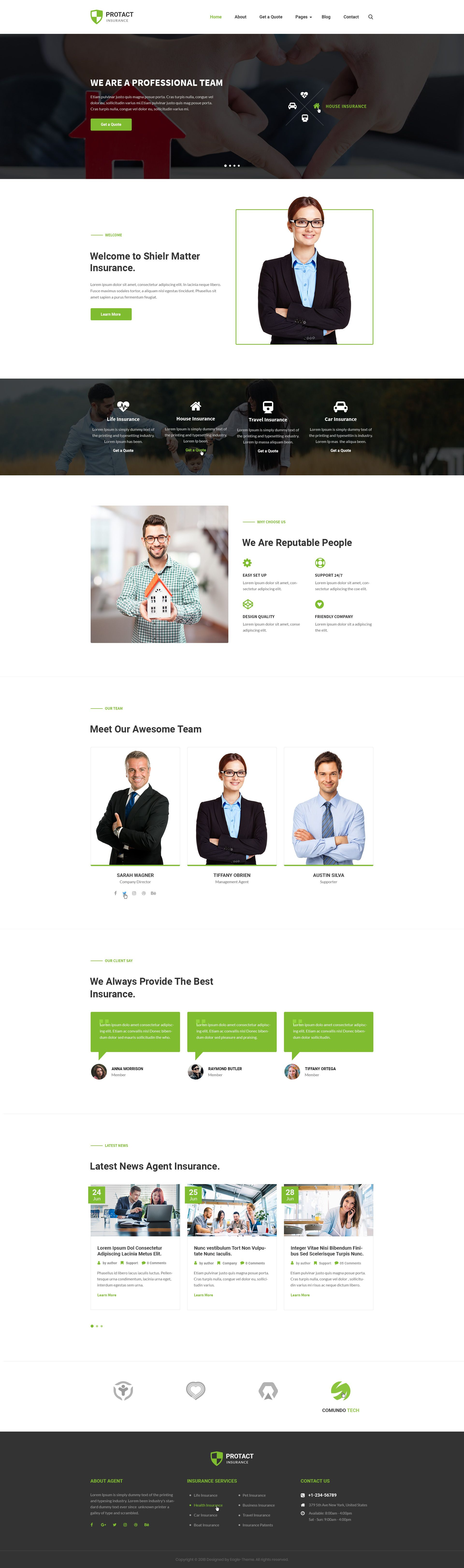 Protact Insurance Agency & Business PSD Template Agency