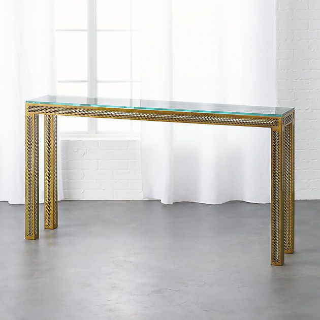 Perforated Glass Gold Console Table | CB2