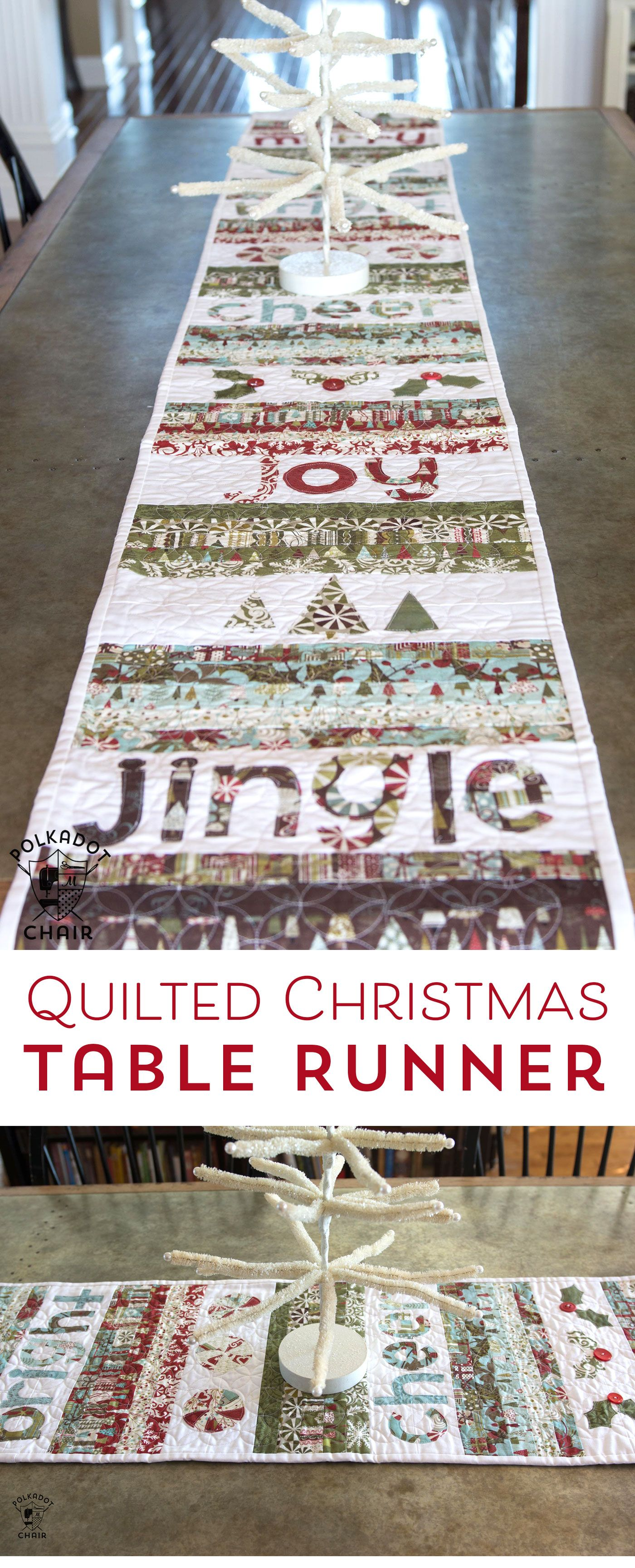 Merry cheer quilted christmas table runner pattern sewing free sewing pattern for a quilted christmas table runner watchthetrailerfo