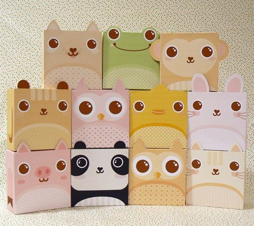 Printable Animal Gift Boxes from Jinjerup - way too cute (: | DIY ...