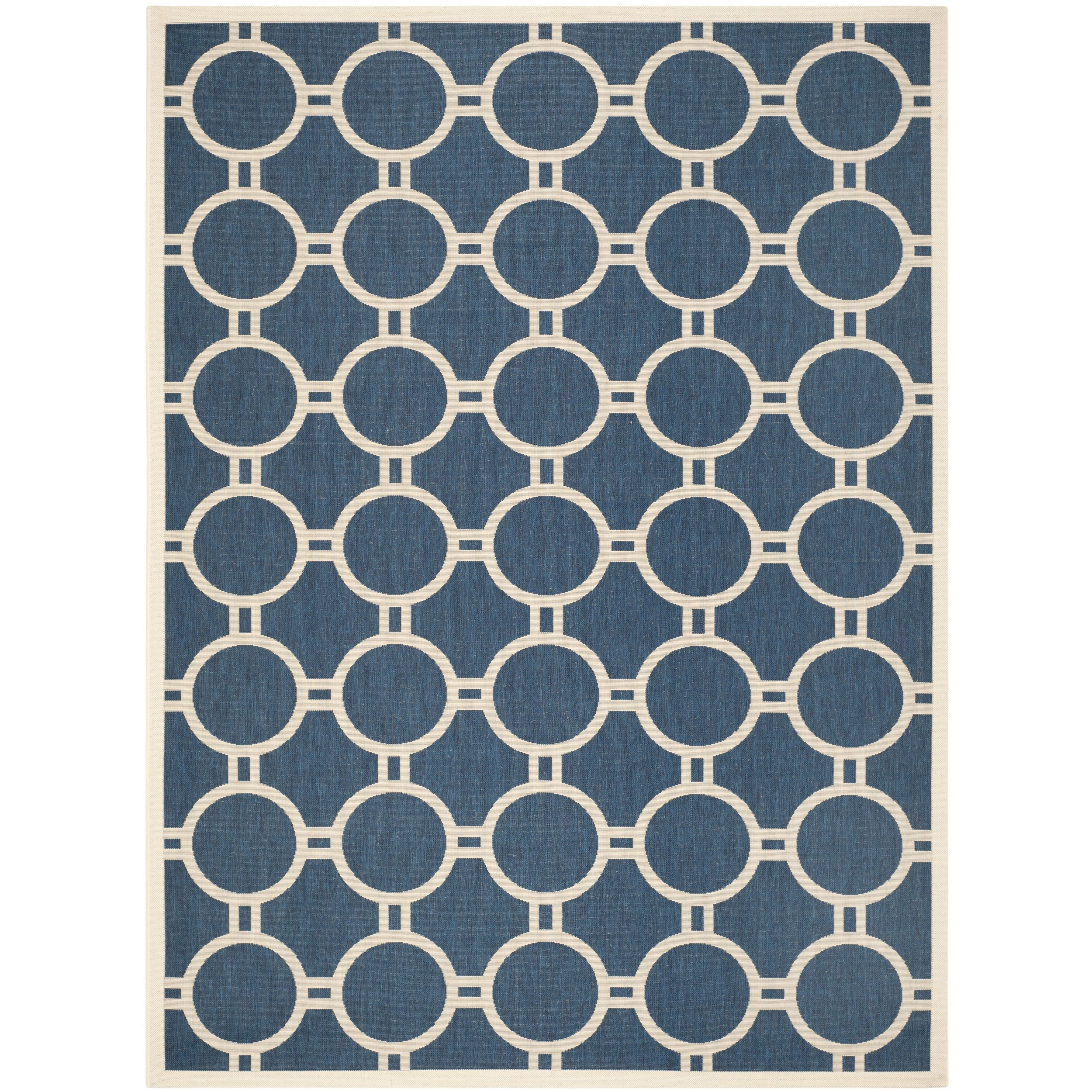 Safavieh Circle-Patterned Indoor/Outdoor Courtyard Navy/Beige Rug (8' x 11') (CY6924-268-8), Blue, Size 8' x 10' (Polypropylene, Geometric)