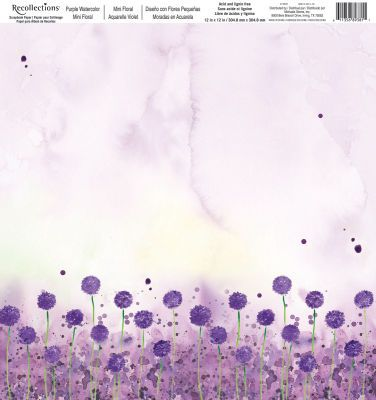 Recollections Purple Watercolor Flowers Open Stock Paper Large