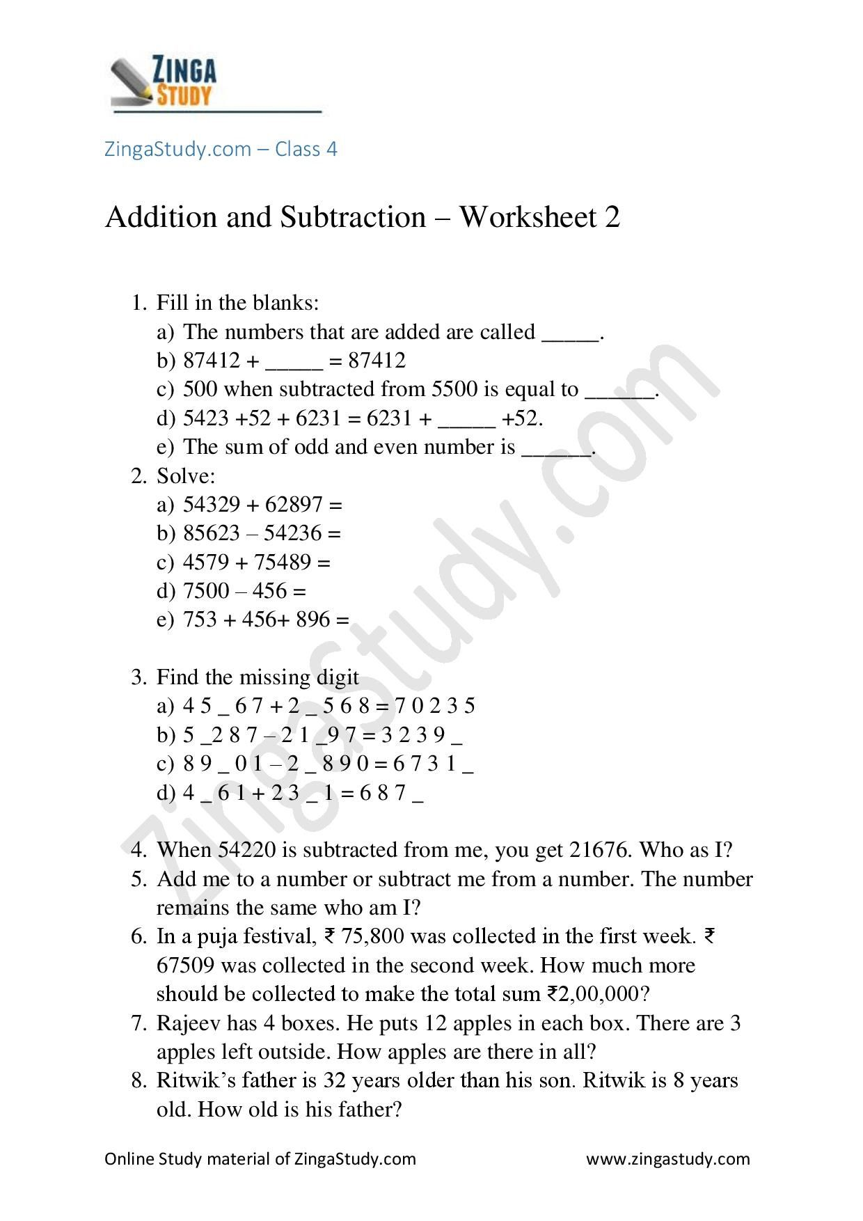 Addition / Subtraction - Worksheet 2 for grade 4   Subtraction worksheets [ 1754 x 1240 Pixel ]