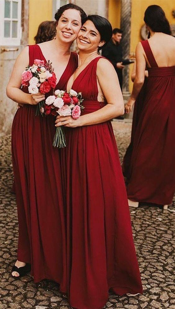 Photo of V-Neck Floor Length Wine Red Long Bridesmaid Dress