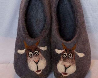 Felted Wool Art Slippers U0026quot;Sheep Goat /new Year 2015 /year Of The Sheep /Christmas/goat /year Of ...