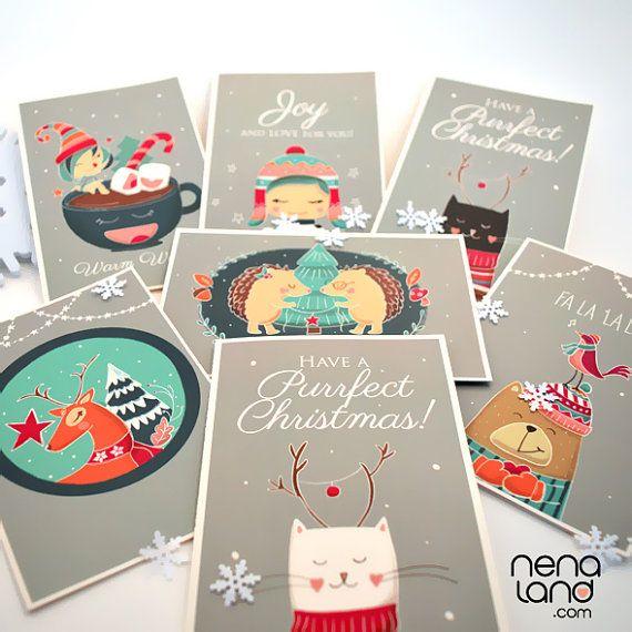 Set of 7 Cute Christmas Cards Christmas Cards Christmas Pinterest